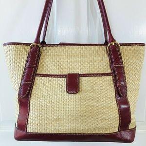 Maxx New York Straw & Red Leather Trim Purse Bag